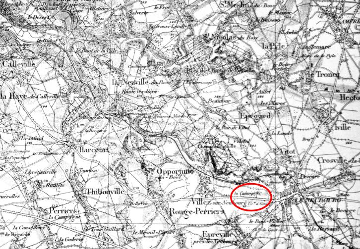 Carte au 1/80.000ème de la région nord-ouest du Neubourg