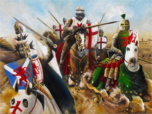 British knights charging, by John Palliser